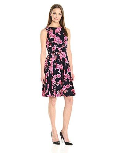 Donna Morgan Women's Sleeveless Matte Jersey Fress W/Pleated Skirt, Marine Navy/Passion Pink Multi, 4 ()