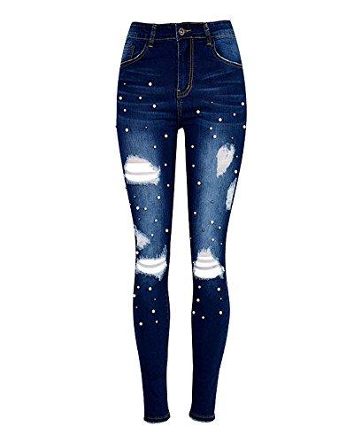 Casuale Leggings Vita Strappati Distrutti Jeans Donna Blu Slim Pantaloni Alta Scuro nR4qSUxwY