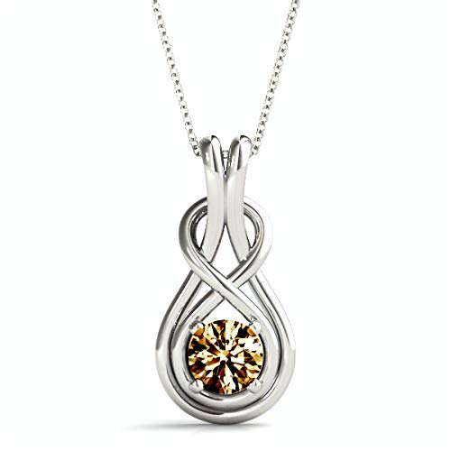 Frostrox Sterling Silver 1/6 Cttw Round Cut Infinity Love Knot Diamond Pendant (brown-diamond)