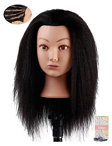 Kalyx Cosmetology Afro Mannequin Head with Hair for Braiding Cornrow or Practice Sew in on Hair Doll Head Manikins Hair Training Head