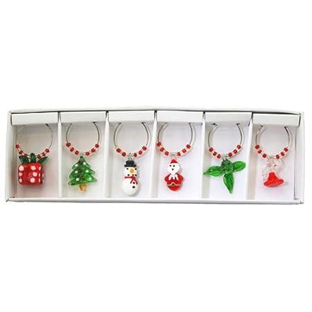 glass christmas wine charms by christmas direct - Christmas Wine Charms