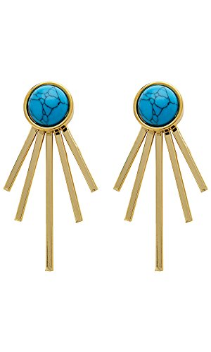 Sterling Forever - Spiked Created Turquoise Jacket Earrings for Women (Turquoise Girls Jacket)