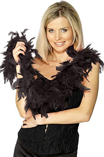 Ladies Sexy Black Red White Pink Feather Boa Scarf 1920s Flapper Fancy Dress Costume Accessory (Black) ()