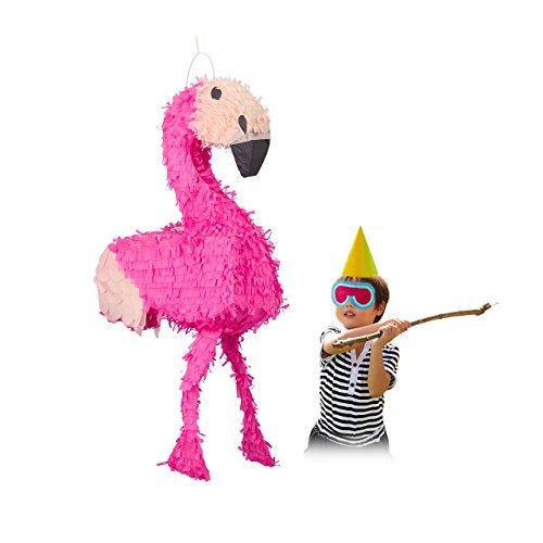Relaxdays Hanging Flamingo Pinata, Children, Girls, Birthday, Fillable, HxWxD: 80 x 40 x 14 cm, Pink -