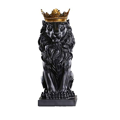 Resin Abstract Black White Crown Lion Sculpture Statue Crafts Home Desk Decoration Geometric Resin Wild Animal Lion Statue Craft (Black)