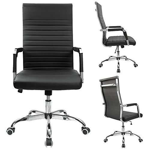 Furmax Ribbed Office Desk Chair Mid-Back Leather Executive Conference Task Chair Adjustable Swivel Chair with Arms (Black) by Furmax (Image #1)