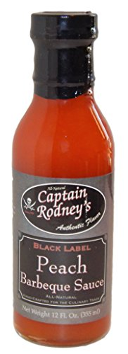 Captain Rodney's Black Label Peach BBQ Sauce - 12 Fl Oz (Label Peach)
