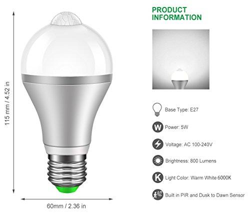 Minger Motion Sensor Light Bulb 9w Smart Pir Led Bulb