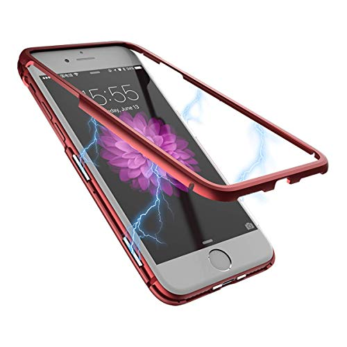 iPhone 7 Case,iPhone 8 Case,WSKEN Ultra Slim Magnetic Adsorption Metal Case Shaft Flip Shockproof with Hard Clear Acrylic Glass Back Cover Compatible iPhone 7/iPhone 8 (Red) ()