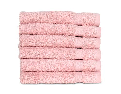 TowelSelections Sunshine Collection Soft Towels 100% Turkish Cotton 6 Washcloths Powder Pink ()