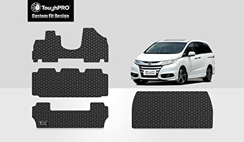 ToughPRO Floor Mats 1st + 2nd + 3rd Row + Cargo Mat Compatible with Honda Odyssey (8-Seater) - All Weather - Heavy Duty - (Made in USA) - Black Rubber - 2011, 2012, 2013, 2014, 2015, 2016, 2017