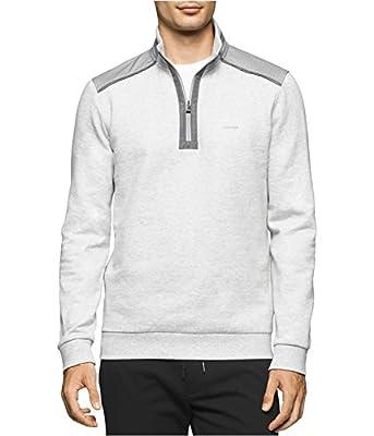 Calvin Klein Mens Quarter Zip Contrast Sweatshirt