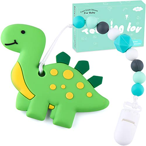 Teething Toys BPA Free Silicone – Tinabless Dinosaur Teething Pain Relief Toy with Pacifier Clip Holder Set for Infants and Toddlers, Teethers Toy for Freezer