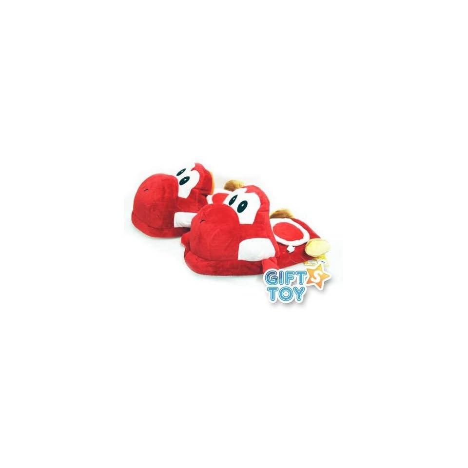 Super Mario Bros Yoshi Plush Slippers (Red)