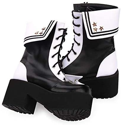 LANKOULI Lolita Chaussures Collège Vent Bottes Hiver Tête Ronde Revers Broderie Fond Épais Muffin Marine Bottes Cosplay Lolita 43