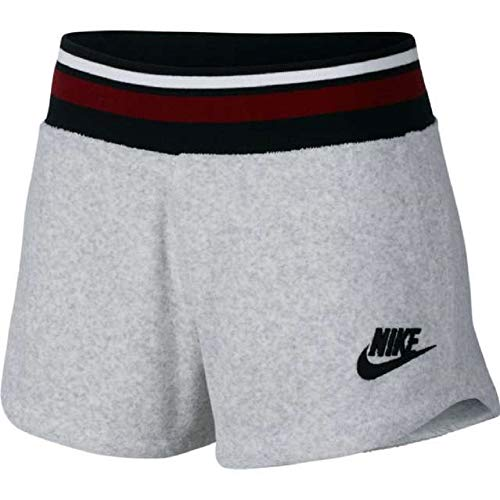NIKE Women's Archive French Terry Training Shorts (Birch Heather, Small)
