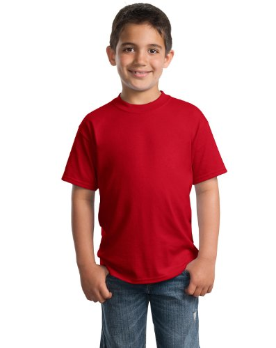 Port & Company PC55Y Youth 50/50 Cotton/Poly T-Shirt - Red - XS