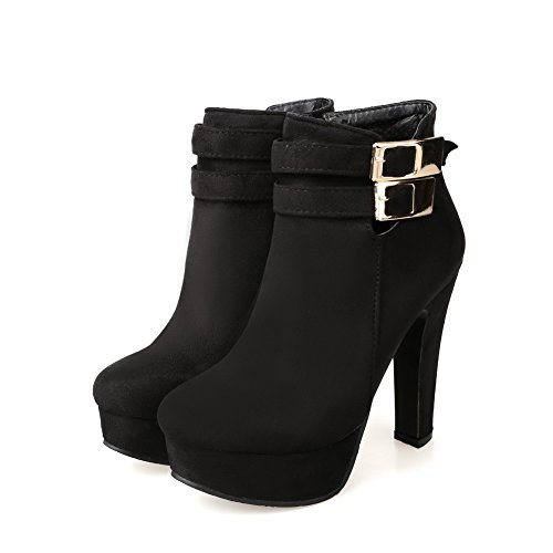 AdeeSu Ladies Zipper Classic Wheeled Heel Shoes Xi Shi Velvet Boots Black no4hkr8
