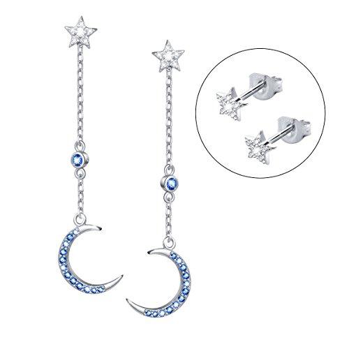 925 Sterling Silver Crescent Moon Star Long Dangle Earrings for Women Girl Mother Cubic Zirconia