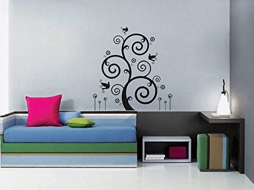 ik1696 Wall Decal Sticker abstract tree monogram birds children's bedroom Bird Monogram