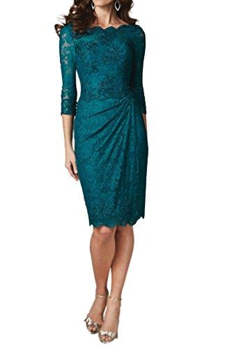 Linie Spitze Etui Ivydressing Festkleid 3 Abendkleider Promkleid Blaugruen Damen KnieKurz 4 Aermel YnwwXBqg