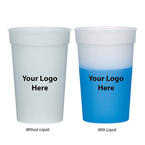 "Personalized Stadium Cups - 17 Oz. Color Changing Stadium Cup - 100 Quantity - 0.95 Each - PROMOTIONAL PRODUCT/BULK with YOUR LOGO/CUSTOMIZED. Size: 5"" H."