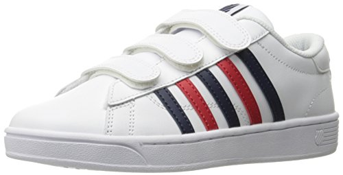 K-Swiss Women's Hoke 3-Strap Cmf Fashion Sneaker, White/Navy/Red, 7.5 M US