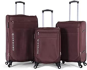 جيوردانو طقم حقائب سفر بعجلات,  3 قطع مع 4 عجلات, بنى - 161712