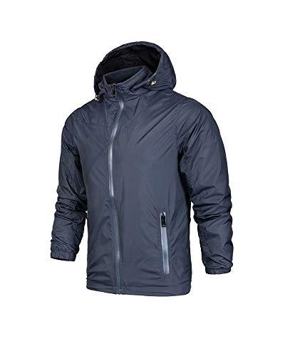 Men's Softshell Jacket RainCoat Windbreaker Lightweight Waterproof Rain Coat Jacekts Zipper with Hooded (Navy Blue,L)