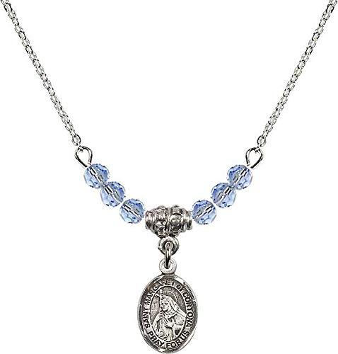 18-Inch Rhodium Plated Necklace with 4mm Light Sapphire Birthstone Beads and Saint Margaret of Cortona Charm. Patron Saint of - 4 Cortona Light