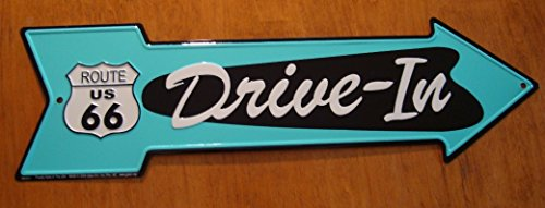 (Drive-In Arrow Route 66 Road Street Sign Vintage Style Diner Drive In Decor)
