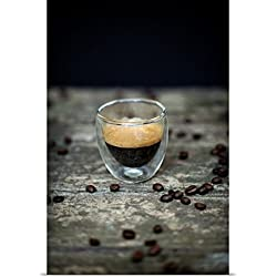 Great BIG Canvas Poster Print entitled Italian espresso coffee in glass and raw beans