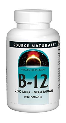 SOURCE NATURALS Vitamin B-12 2000 Mcg Lozenge, 200 Count (Natural B-12 Vitamins Source)