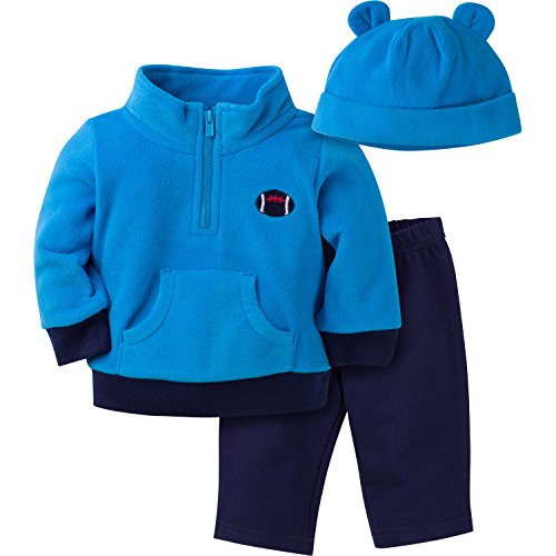 Gerber Boys' 3 Piece Micro Fleece Top Cap and Pant Set, Football, 0-3 Months
