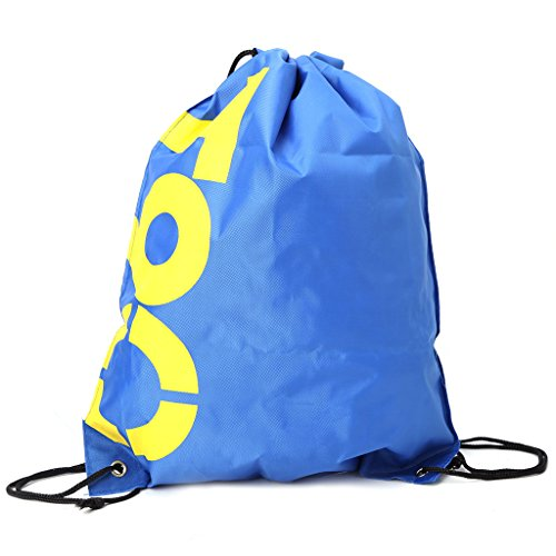 Thobu Backpack Shopping Drawstring Bags Waterproof Travel Beach Gym Shoes Sports Pack-Blue from Thobu