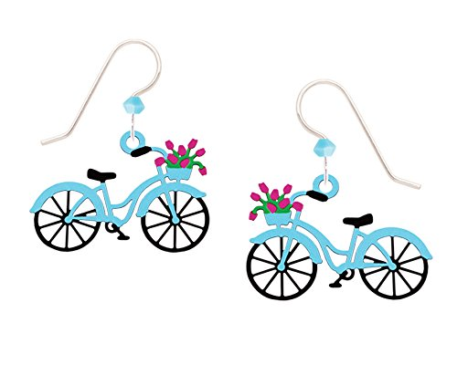 Sienna Sky Vintage Blue Bike with Flowers in Basket Earrings with Gift Box Made in USA