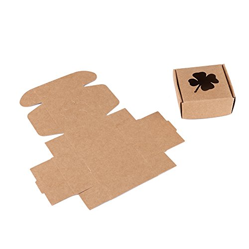10pcs/pack Small Square Brown 350g Kraft Paper Packaging Box with Clover Window Foldable Kraft Gift Box for Handmade Soap Candy Ornament Accessories Clover Candy