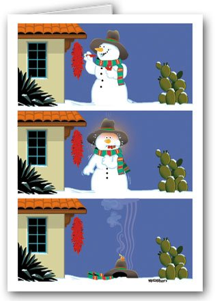 (Funny Western Christmas Card - 18 Cards & Envelopes - Snowman Heat!)