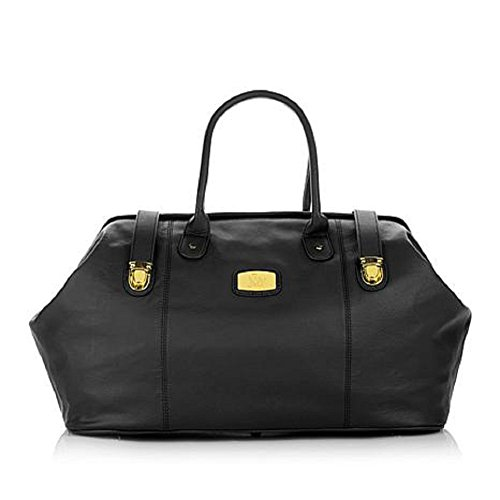 JOY Genuine Leather Designer Duffle Bag -Black