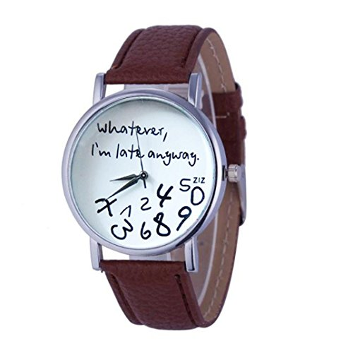 Oliviavan, 1PC Hot Women Leather Watch Whatever I am Late Anyway Letter Watches Black Sample low-key style (Brown) ()
