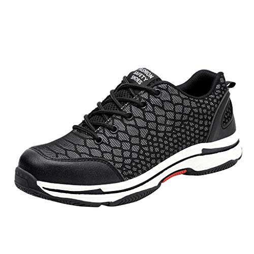 Dainzuy Work Shoes for Men Women Safety Shoes Breathable Mesh Fashion Sneakers Lace Up Outdoor Couple Luminous Shoe Black
