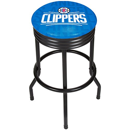 - Trademark Gameroom NBA1006-LAC3 NBA Black Ribbed bar Stool - City - Los Angeles Clippers