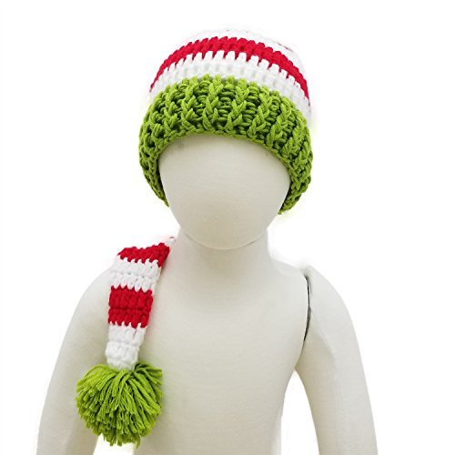 Red Crochet ELF Long Tail Pom-pom Hat ()