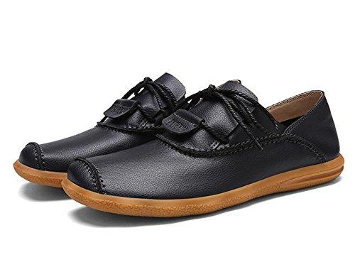 Appartements Black Glisser Mode Décontractée Fait Conduite Hommes main Confortable Oxford sur Flâneurs Entreprise Noir Lacer Cuir marron Chaussures RBTnPqzR