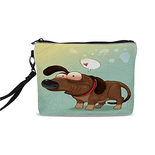 (Funny Simple Cosmetic Bag,Puppy in Love Werner Dog Romance Confusion Humor Caricature Style Pet Graphic for Women,9