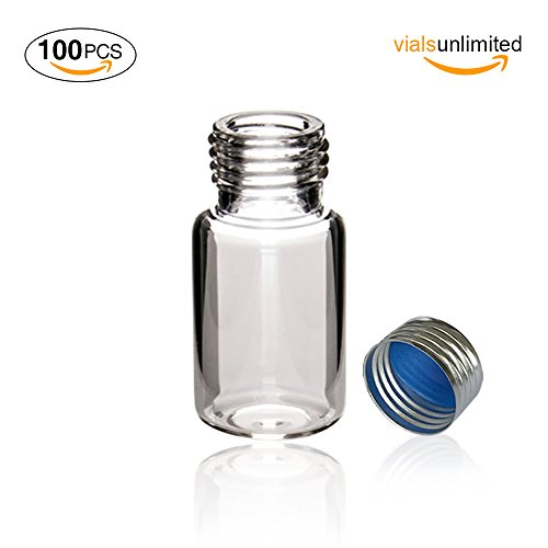 Sample Vial Thread Screw (Autosampler Vials, MS Lab Supply 10ml Clear Sample Vials with 18mm Silver Screw Cap(Blue PTFE/White Silicone Liner), Pack of 100)