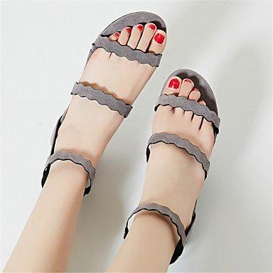 LvYuan Tacón Plano-Innovador Zapatos del club-Sandalias-Oficina y Trabajo Vestido Informal-Vellón Materiales Personalizados-Negro Almendra Black