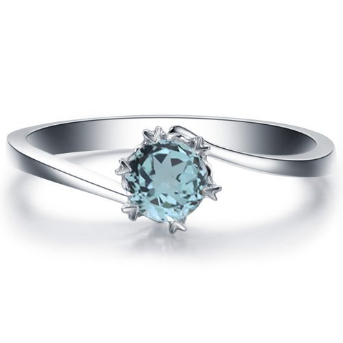 Round Cut Aquamarine Engagement Ring 14k White Gold or Yellow Gold Platinum HANDMADE March Birthstone Diamond Ring Free Shipping