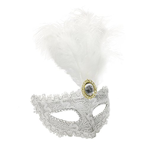 Dreamowl Sequins Lace Floral Mardi Gras Masquerade Costume Feather -