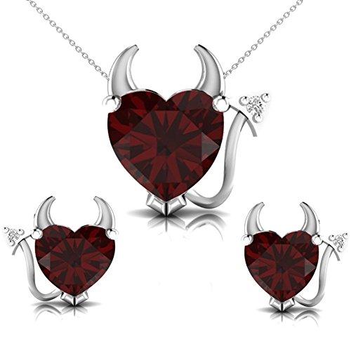 Pretty Jewellery Garnet & Natural Diamond Accents in 14K White Gold Devil Heart Necklace Set